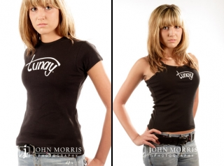 Fashion model, in studio wearing a black t -shirt and tank top for a commercial apparel photo shoot in San Diego.