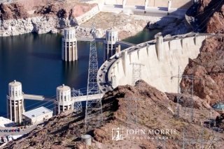 An aerial view of the Hoover dam, shot from a helicopter during a commercial shoot for a power company.