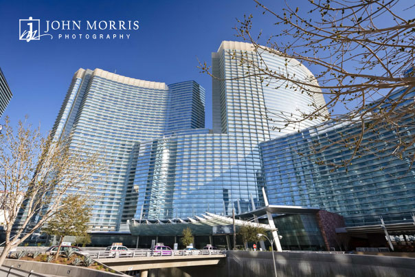 Tree branches frame the tall, modern buildings of the City Center in Las Vegas during an Architectural photo shoot.