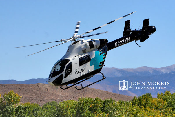 A Calstar medivac helicopter is put through it's paces during an air show in Reno, NV.