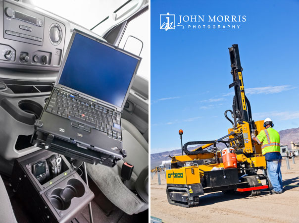Interior of a vehicle equipped with a laptop computer and special console stand created for an advertising campaign and a worker operates heavy machinery while constructing an industrial solar farm.