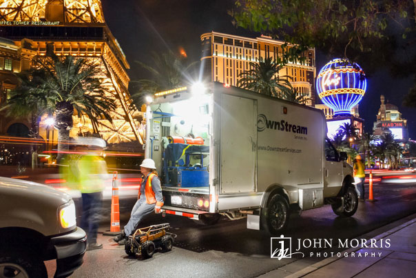 Late night commercial shoot on the Las Vegas Strip for a heavy equipment service company.