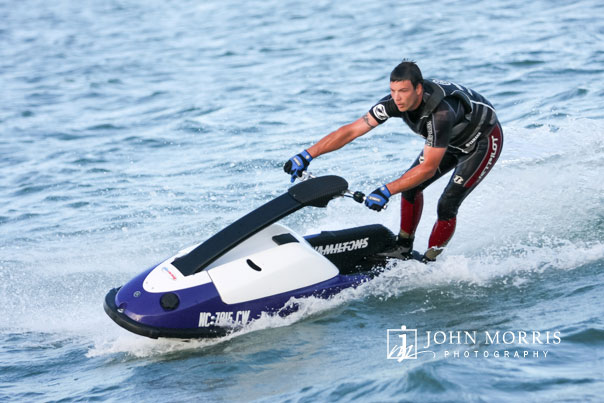 Stuntman expertly handles a Jet Ski during a lifestyle commercial shoot in waters off the Florida coast.
