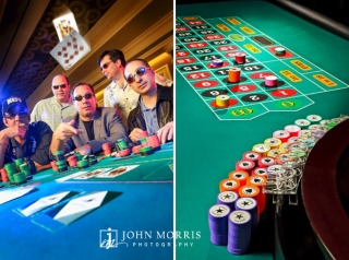 Five gamblers sit at a black jack table as a Jack and a 10 card spin towards the camera and a studio lit roulette table is highlighted for a commercial product shoot.