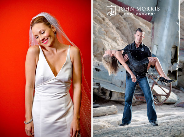 Blushing bride against a red background strikes a wonderfully candid pose while a man carries a women away from a crashed airplane in a dramatic, outdoor photo shoot.