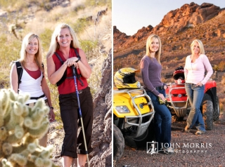 Two women bloggers in casual outfits posing next to atv's and hiking during an active, lifestyle photo shoot.