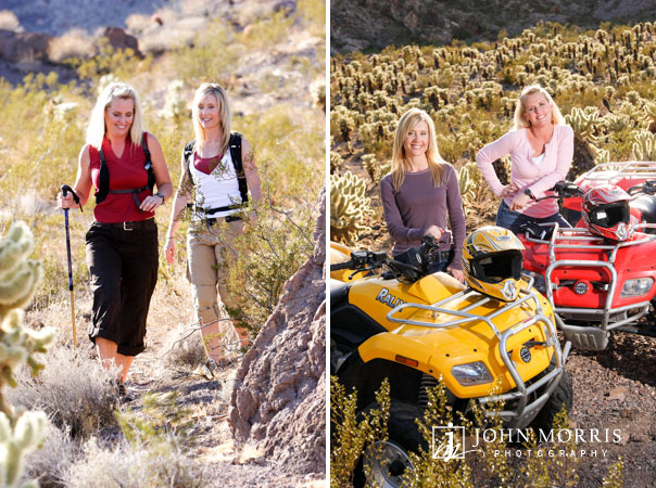 Two women influencers and lifestyle bloggers posing hiking, and on atv's for a healthy living photoshoot.