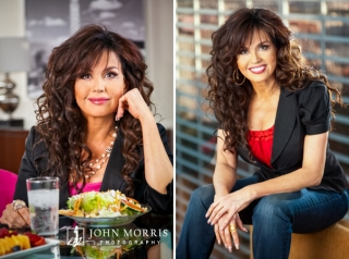 Marie Osmond posing for the camera during a lifestyle, commercial photo shoot for promoting healthy eating.
