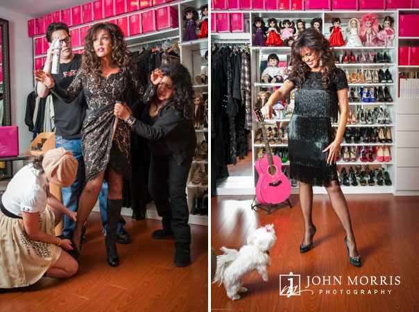 Famous singer and entertainer Marie Osmand in her dressing room with her small dog and make up artists during a lifestyle photo shoot.