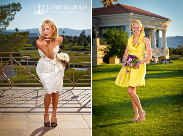 Fashion model in a white wedding dress and a yellow bridesmaid dress during a commercial photo shoot.