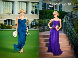 Fashion model posing for the camera in bridesmaids dresses during a commercial photo shoot.