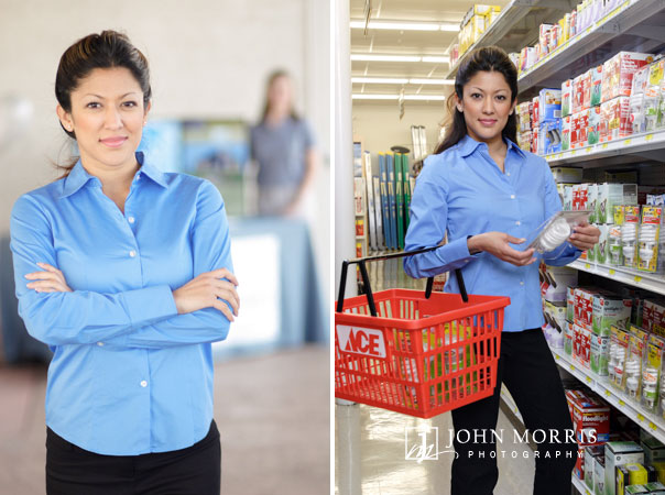 Model and spokeswoman for a San Diego power company poses for the photographer on location at a hardware store.