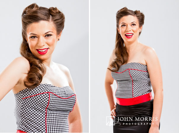 Poker star Amanda Musumeci poses, in studio, for a commercial photo shoot wearing a classic pin up style look.