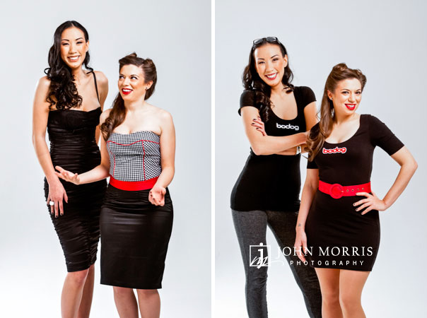 Poker stars, Amanda Musumeci and Evelyn Ng pose, in studio, against a white backdrop for a commercial photo shoot.