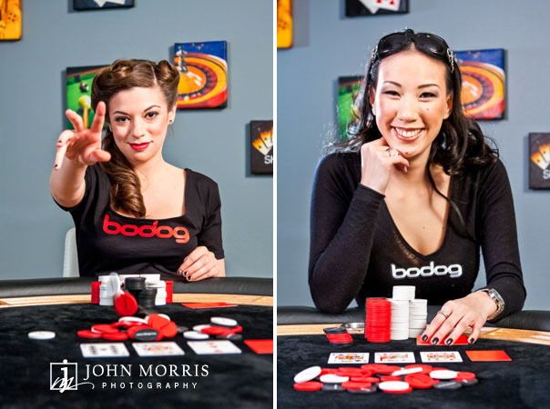 Poker stars, Amanda Musumeci and Evelyn Ng, posed and smiling for the camera during a commercial photo shoot.