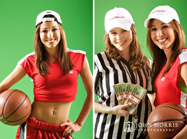 Fashion models in sports and referee clothing posing with a basketball and money for an commercial advertising campaign in San Diego.