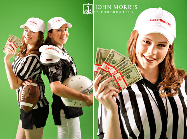 Two fashion models posing against a green background dressed in sports wear and a referee outfit during a commercial photo shoot.