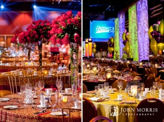 Red roses, blue spotlights and dazzling tapestries accentuate exquisitely decorate tables in anticipation of a gala corporate event.