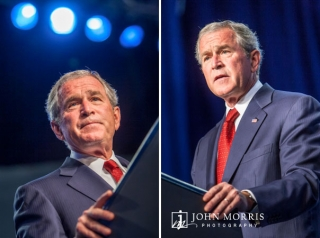 Bathed in blue light, President George Bush speaks confidently and earnestly during a conference in Reno, NV.