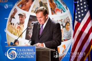 Homeland Security Chief Tom Ridge, speaks from behind a podium during a conference on Global leadership in San Diego