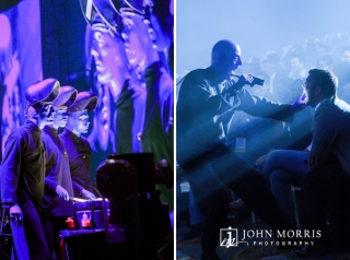 The Blue Man Group perform both on stage and in the audience during the entertainment portion of a corporate event.