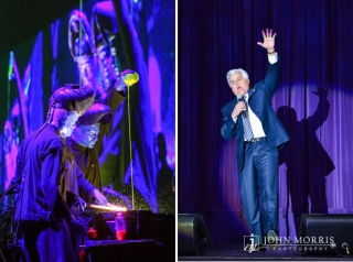Jay Leno and The Blue Man Group provide on stage entertainment for an audiences during a corporate event.