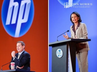 A light moment during an executives presentation and a more serious Condoleezza Rice make a point to conference.