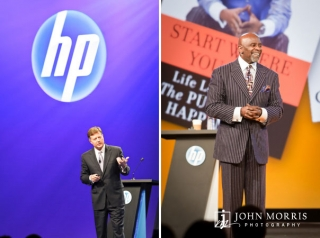 "Chris Gardner, author of the book, ""The Pursuit of Happiness"",smiles during a keynote and and an executive makes a point during a presentation."