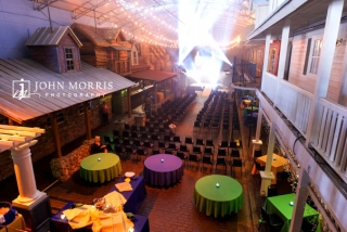 An indoor dance hall is converted to a amazing corporate event space in preparation for a conference.