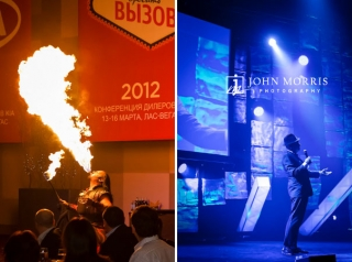 On stage talent and entertainment, a Fire Breather blows a twelve foot column and flame and a Frank Sinatra impersonator cools the crowd down during a Corporate awards dinner.