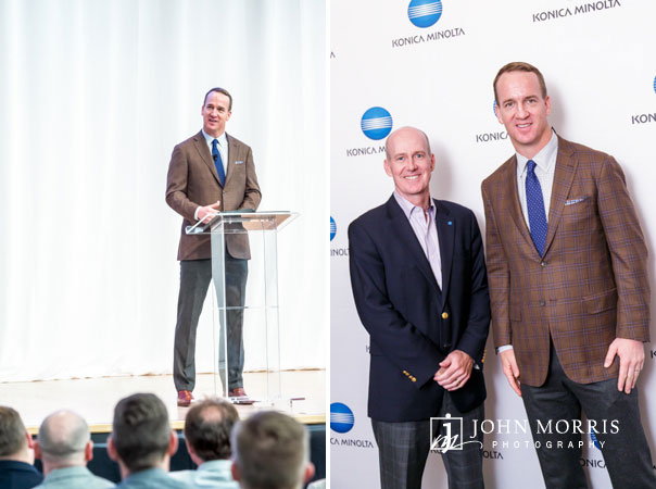 Peyton Manning speaking and posing with attendees at a corporate event in Aspen, CO.