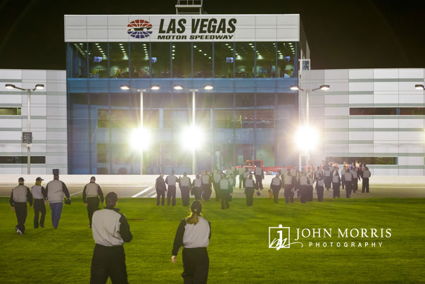 Group of attendees heading to the Las Vegas Motor Speedway center buildings after an evening of fun.