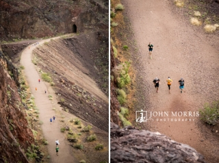 Aerial view of runners along an old railroad trail during a corporate sponsored 5k event.