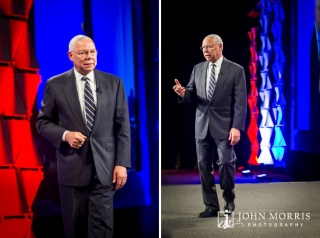 General Colin Powell, on stage, addressing a financial conference