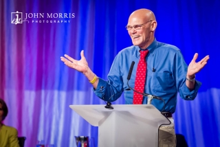 Fun moment of James Carville on stage, addressing a convention crowd