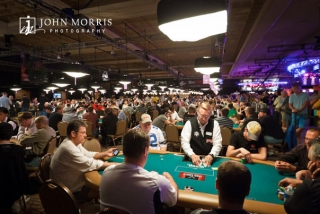 One of the large poker rooms with hundreds of tables and thousands of players at the World Series of Poker
