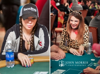Female Poker players Amanda Musumeci and Tatjana Pasalic displaying intense and playful expressions at poker tables