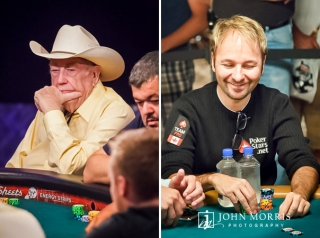 Poker legends Doyle Brunson and Daniel Negreanu seated at poker tables during the World Series of Poker in Las Vegas