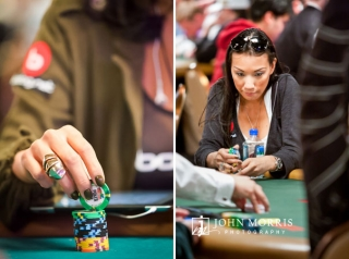Female poker star, Evelyn Ng, contemplating her options at a poker table during the World Series of Poker in Las Vegas