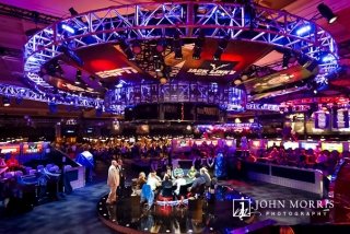 Wide angle view of the main event table and players at the World Series of Poker in Las Vegas