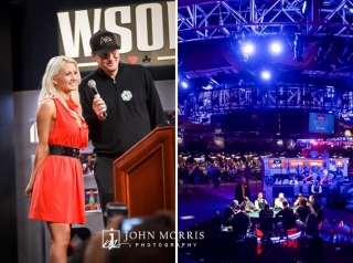 Event Photography and Holly Madison and Phil Hellmuth on stage speaking to players and fans at the World Series of Poker in Las Vegas