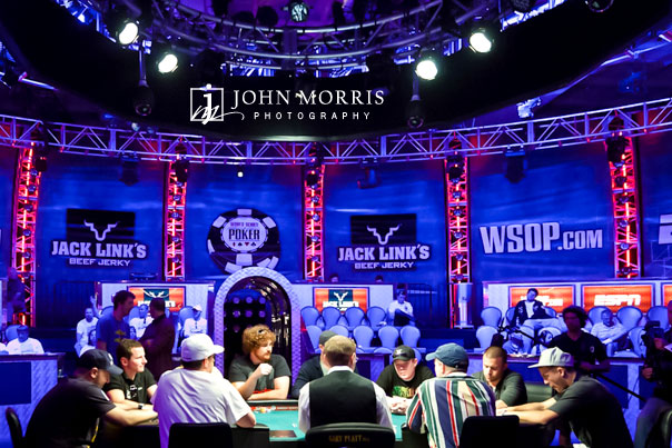 Players sitting at the ESPN sponsored main table at the World Series of Poker in Las Vegas
