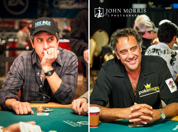 Candid Portraits of Ray Romano and Brad Garrett sitting at poker tables during the World Series of Poker