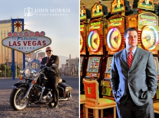 A corporate CEO poses on his motorcycle in front of the iconic Las Vegas Sign and a second executive poses in front of a bank of slot machines for an environmental portrait.
