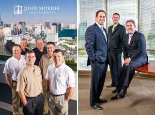 A group of gaming CEO's posing for the camera high above Las Vegas and a group of business partners posing in their new office.