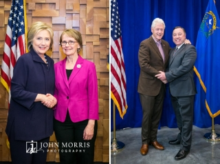 Senator Hillary Clinton and husband, President Bill Clinton posing and shaking hands with constituents.
