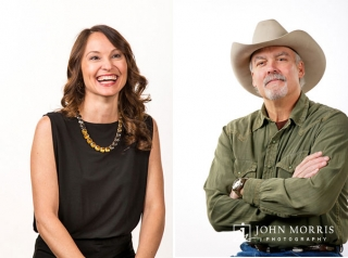 In Studio, high key corporate headshots of male executive in cowboy hat and happy female