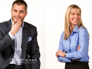 In Studio, energetic, candid corporate headshots of a male and female executive on high key, white background