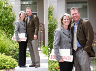 Lifestyle, outdoor headshots of a husband and wife real estate team against a background of a gray house.