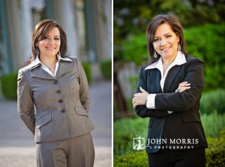Outdoor, lifestyle headshots of a female real estate agent dressed in business attire.